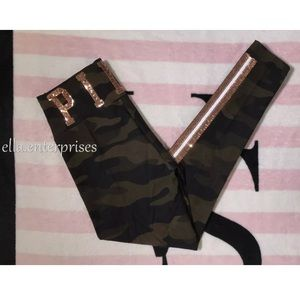 VS Pink Camo Gold Bling Cotton High Waist Legging